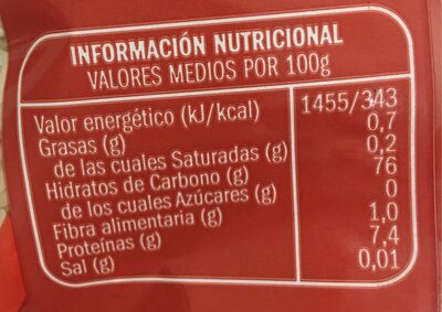 Arroz largo extra - Informació nutricional