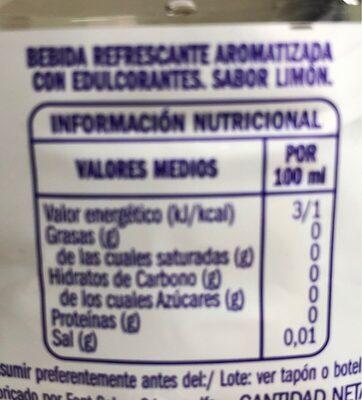 Agua sabor limón - Informations nutritionnelles - es