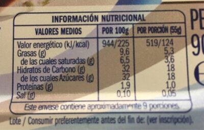 Helado de Stracciatella - Voedingswaarden - es