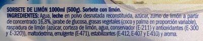Sorbete de Limón - Ingredients - es