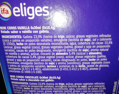Mini conos Vainilla Chocolatep - Ingredients