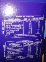 Mini conos Vainilla Chocolatep - Informació nutricional