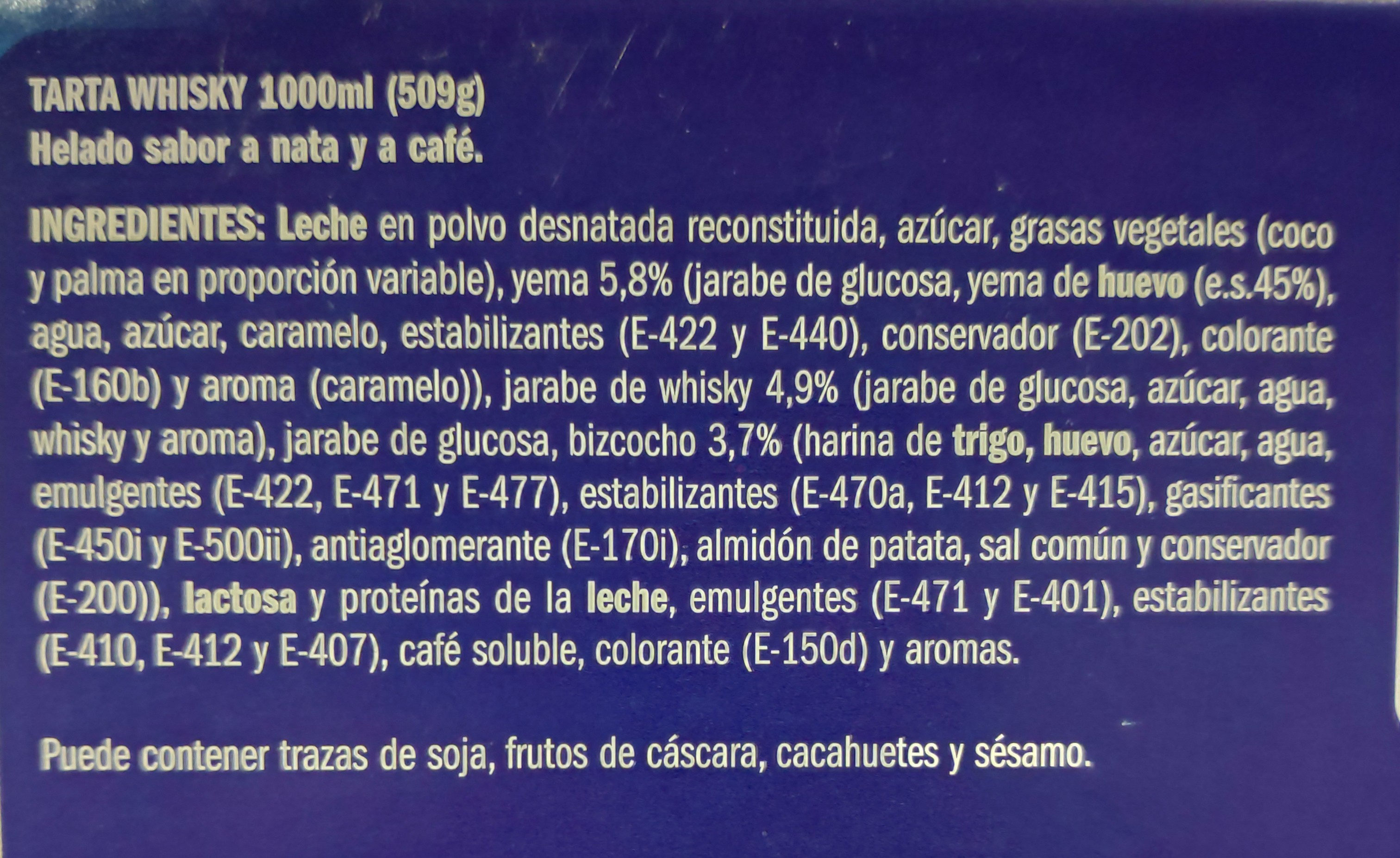 Brazo de Whisky - Ingredientes