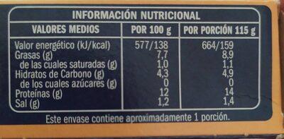 Trozos de Calamares en Salsa Americana - Voedingswaarden - es