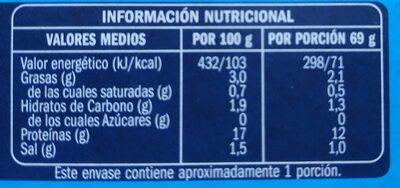 Mejillón de las rías gallegas al natural - Informació nutricional