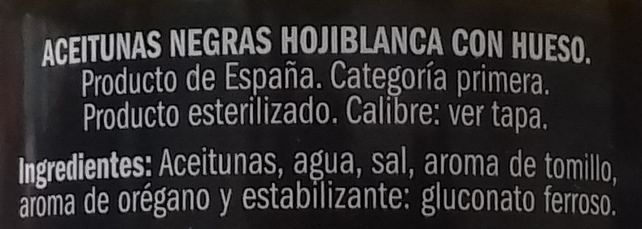 Hojiblanca con hueso - Ingredientes
