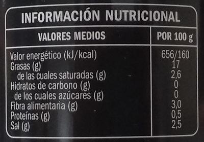 Hojiblanca con hueso - Información nutricional