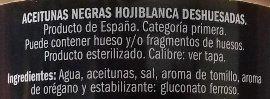 Aceituna negra hojiblanca deshuesada - Ingredientes - es
