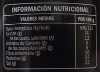 Aceituna negra hojiblanca deshuesada - Información nutricional - es