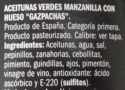 Aceituna manzanilla gazpachos con hueso - Ingrédients - es