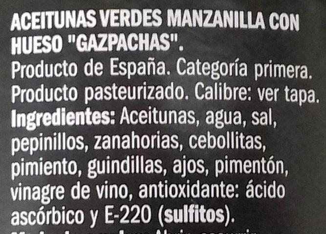 Aceituna manzanilla gazpachos con hueso - Ingredients - es