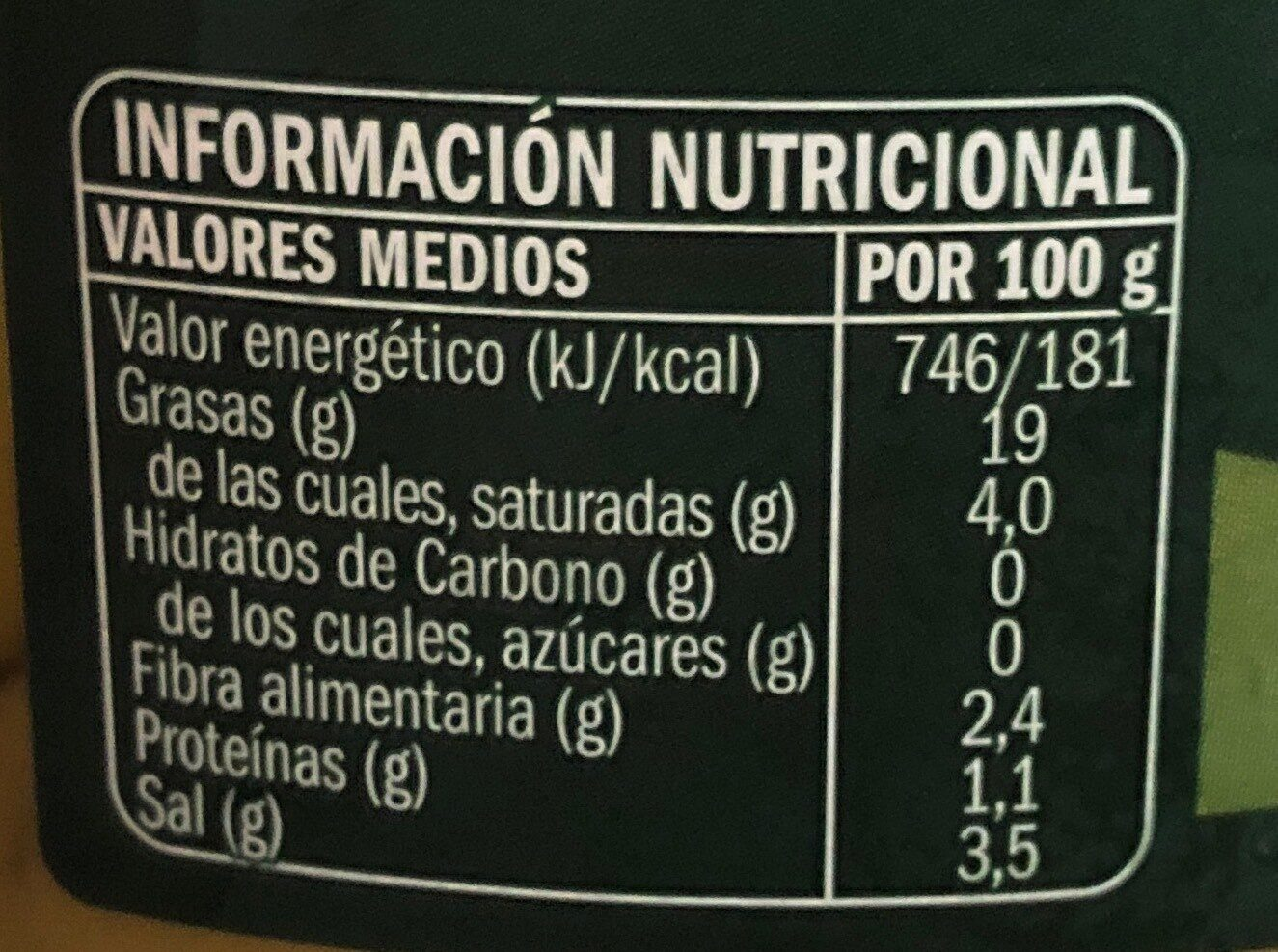 Aceituna Manzanilla con Hueso - Informació nutricional