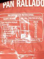 Pan rallado - Informations nutritionnelles - es