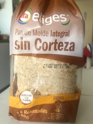Pan de molde integral sin corteza - Produit