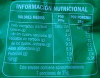 Patatas campesinas - Información nutricional