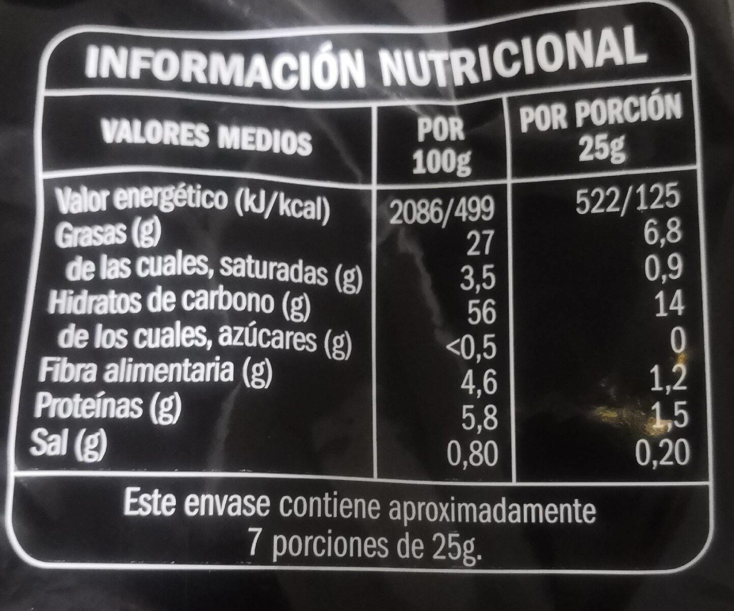 Patatas fritas - Nutrition facts