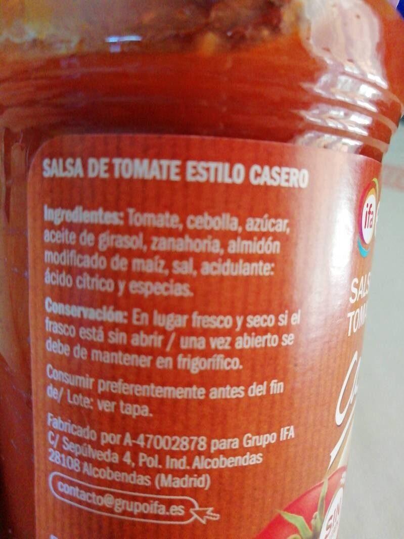 Salsa Tomate Casero - Ingredientes - es