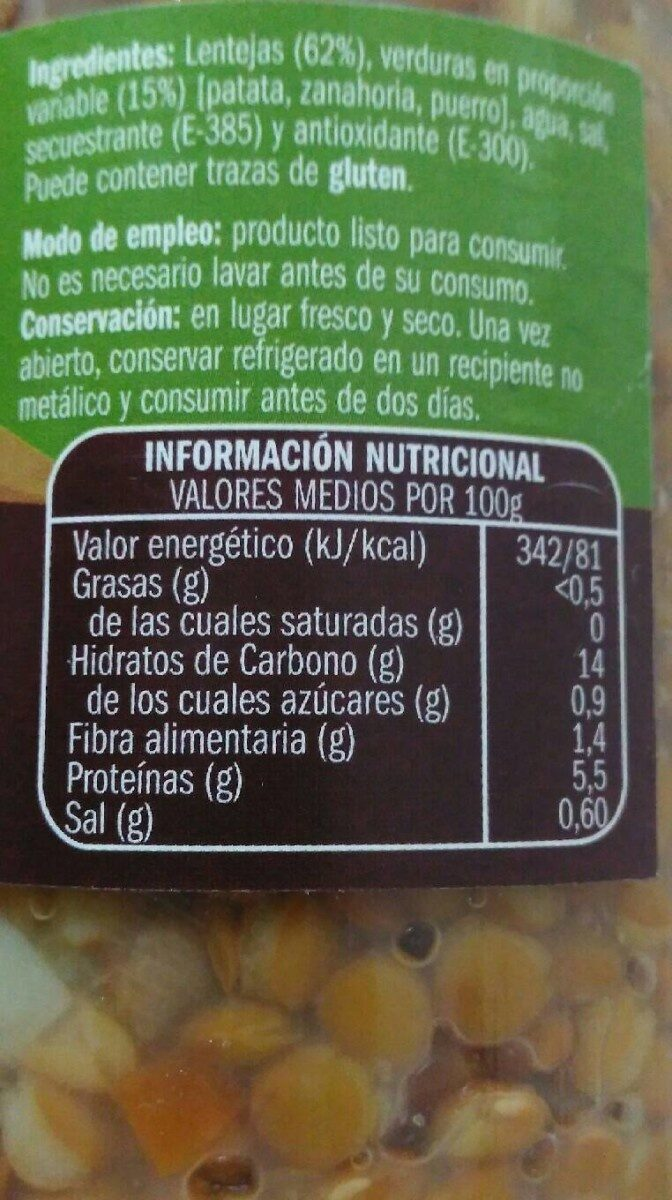 informacion nutricional lentejas hervidas