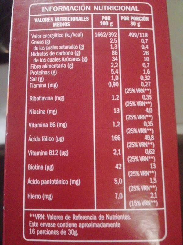 Arroz Inflado con Chocolate - Informations nutritionnelles