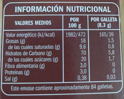 Galletas Relieve - Voedingswaarden - es