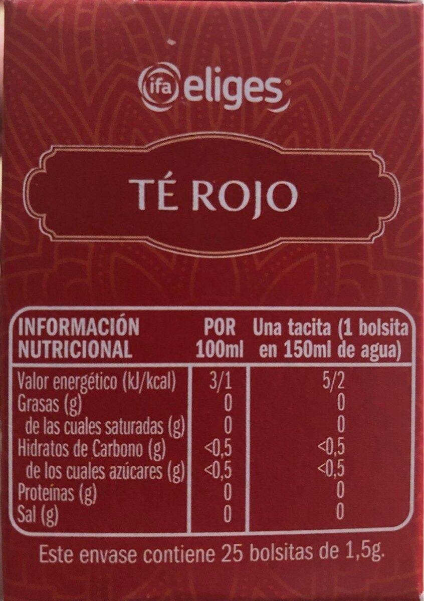 Te rojo - Informations nutritionnelles - es