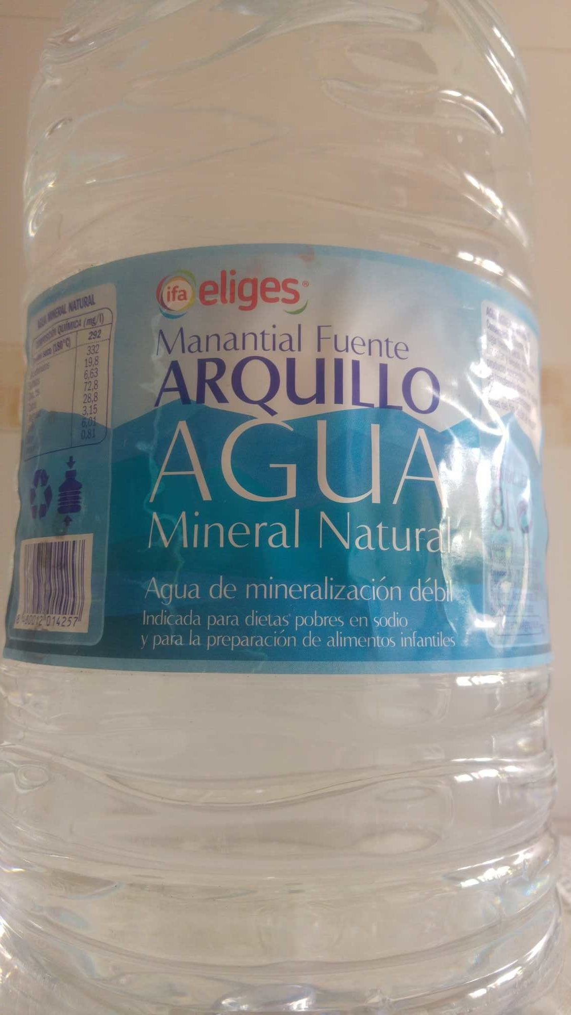 Agua mineral natural Fuente Arquillo - Produit - es