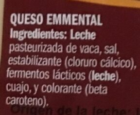 Queso Emmental - Ingredients