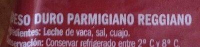 Queso Parmigiano Reggiano - Ingrediënten - es