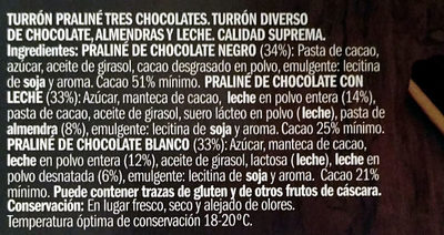 Praliné de tres chocolates - Ingredientes