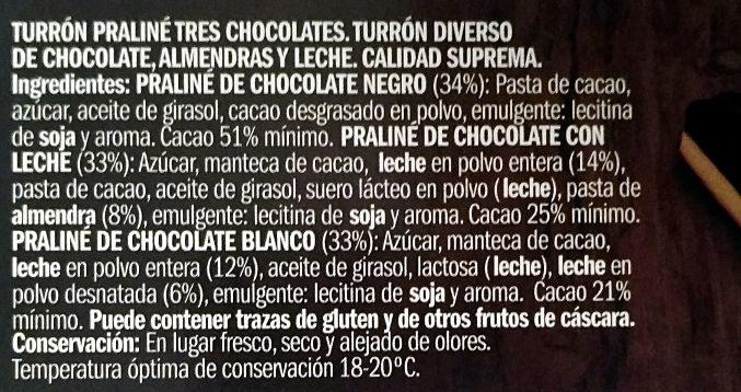 Praliné de tres chocolates - Ingredients