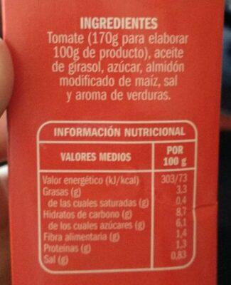 Tomate Frito - Información nutricional