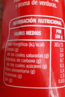 Tomate Frito - Información nutricional - es