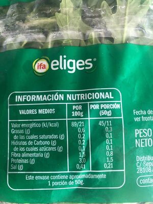 Rúcula ensalada lista para consumir - Informations nutritionnelles - es