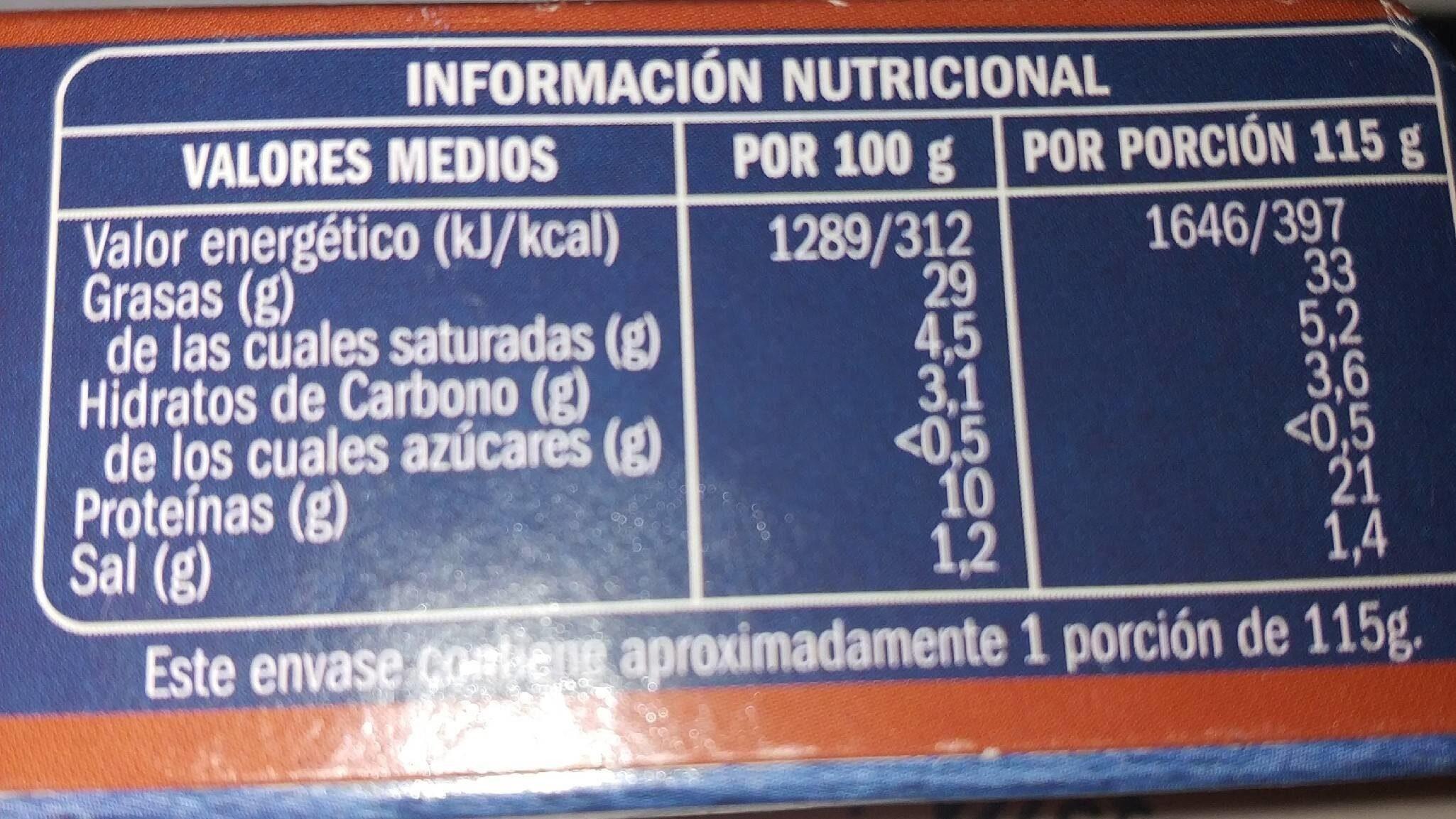 Zamburiña en salsa de vieira - Información nutricional - es