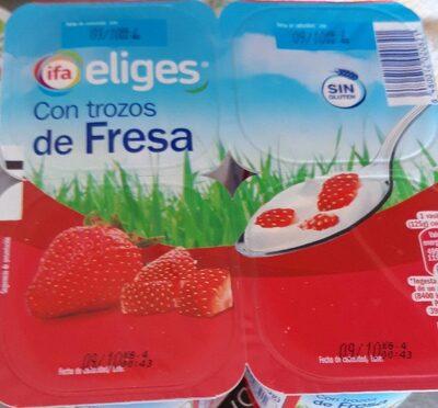 Yogur con trozos de fresa