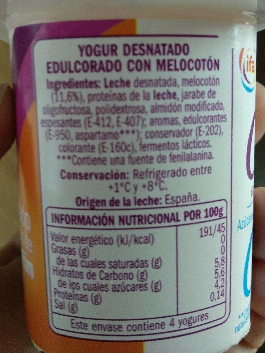Yogur desnatado edulcorado melocoton - Voedigswaarden