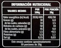 Turrón trufado de chocolate al licor - Información nutricional