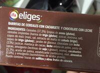 Barritas de cereales con chocolate - Ingredientes