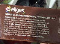 Barritas de cereales con chocolate - Ingredients