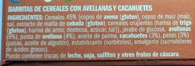 Barritas de cereales con avellanas - Ingredients - es