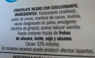 Chocolate negro sin azúcares - Ingredients - es