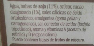 Bebida de soja con chocolate - Ingredientes - es