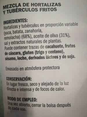 Chips vegetales - Información nutricional - es