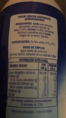 Yogur liquido natural con azucar de caña - Voedigswaarden