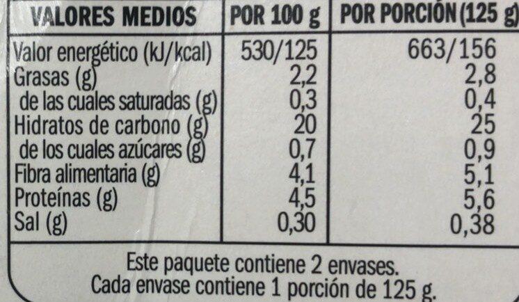 Quinoa real - Nutrition facts - es