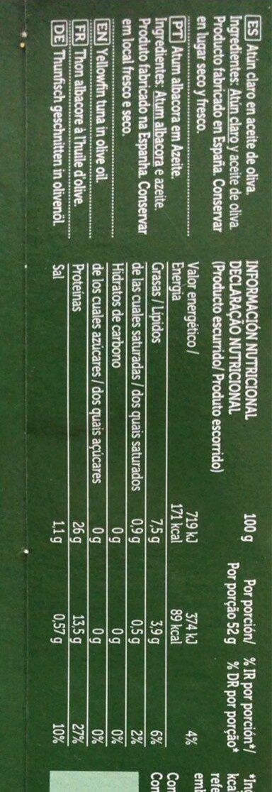 Atun claro en aceite de oliva - Valori nutrizionali - es
