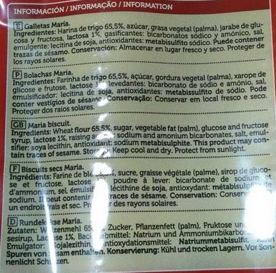 Galletas María Rustica - Ingredientes - es
