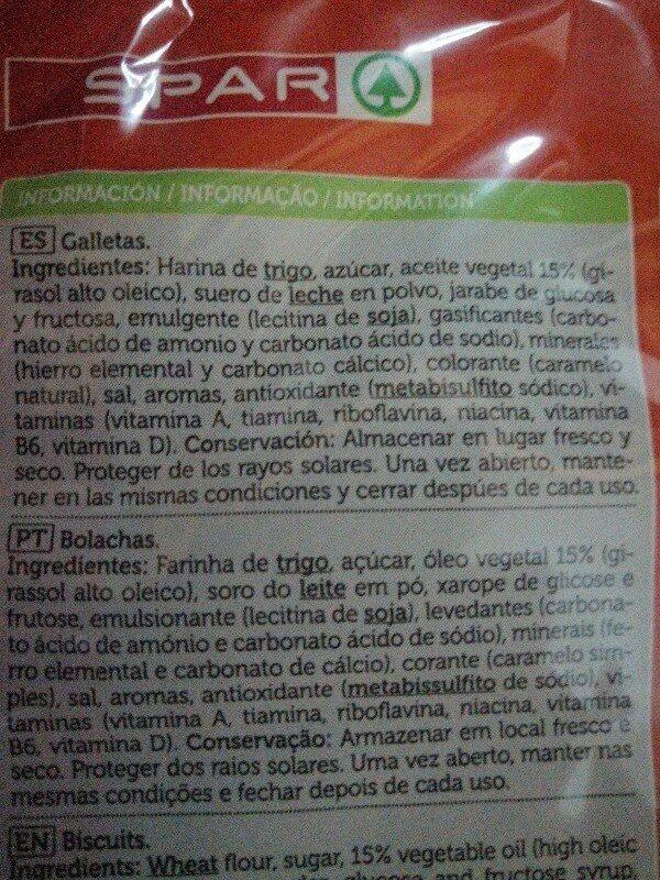 Galletas tostadas - Ingredients - es
