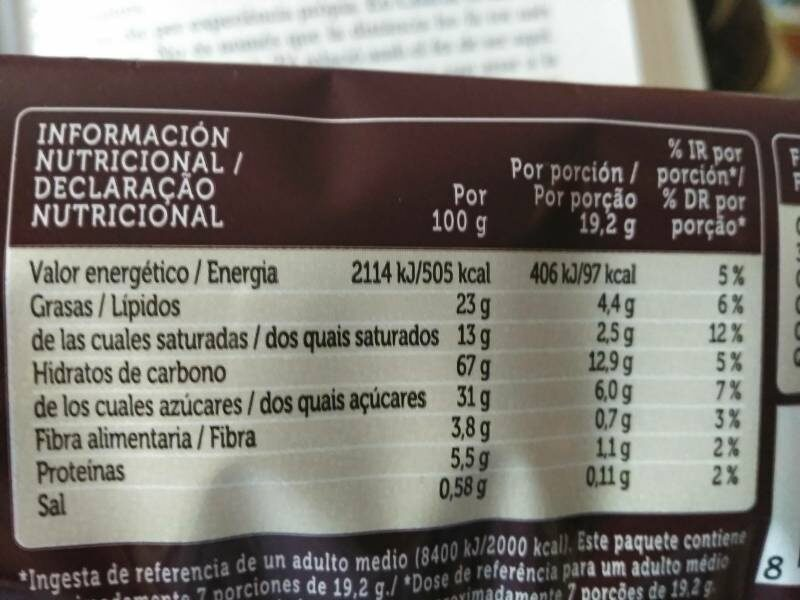 Galletas con pepitas de chocolate - Nutrition facts - fr