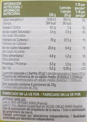 Barres de céréales Pomme et abricot par 6 - Informació nutricional - es